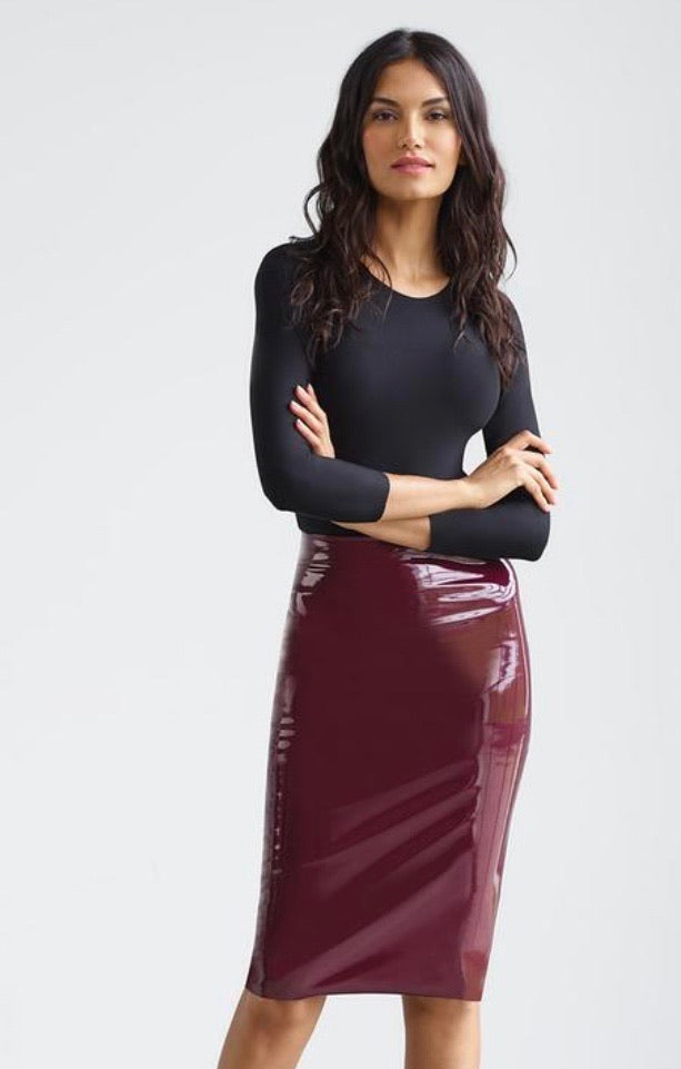 Commando Faux Patent Leather Midi Skirt Burgandy SK03