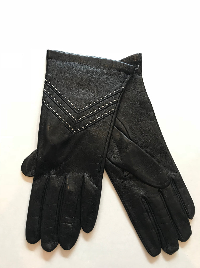 Leather Glove With Ivory Stitching