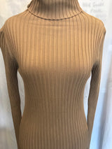 From Head to Hose Basic Ribbed Turtleneck with Thumb Hole