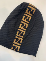 Ribbed Beanie With Brown F Logo Stripe