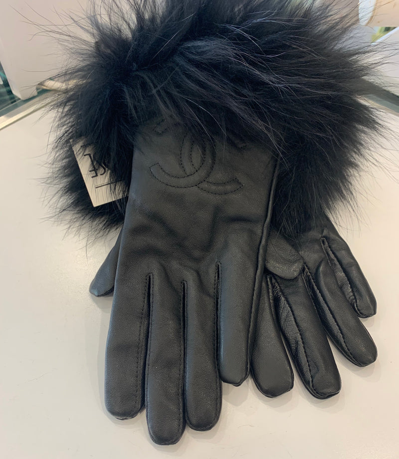 FHTH C Inspired Leather Gloves with Fur Trim