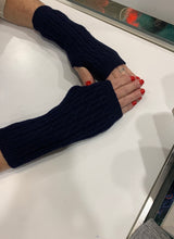 Fhth Narrow Cable Ribbed Fingerless Wool Glove
