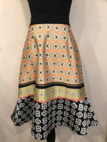 M. Miranda Fit and Flair Print Skirt