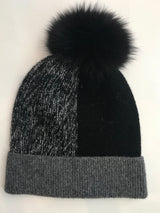 FHTH Knit Wool Color Block Hat with Pom IMH21