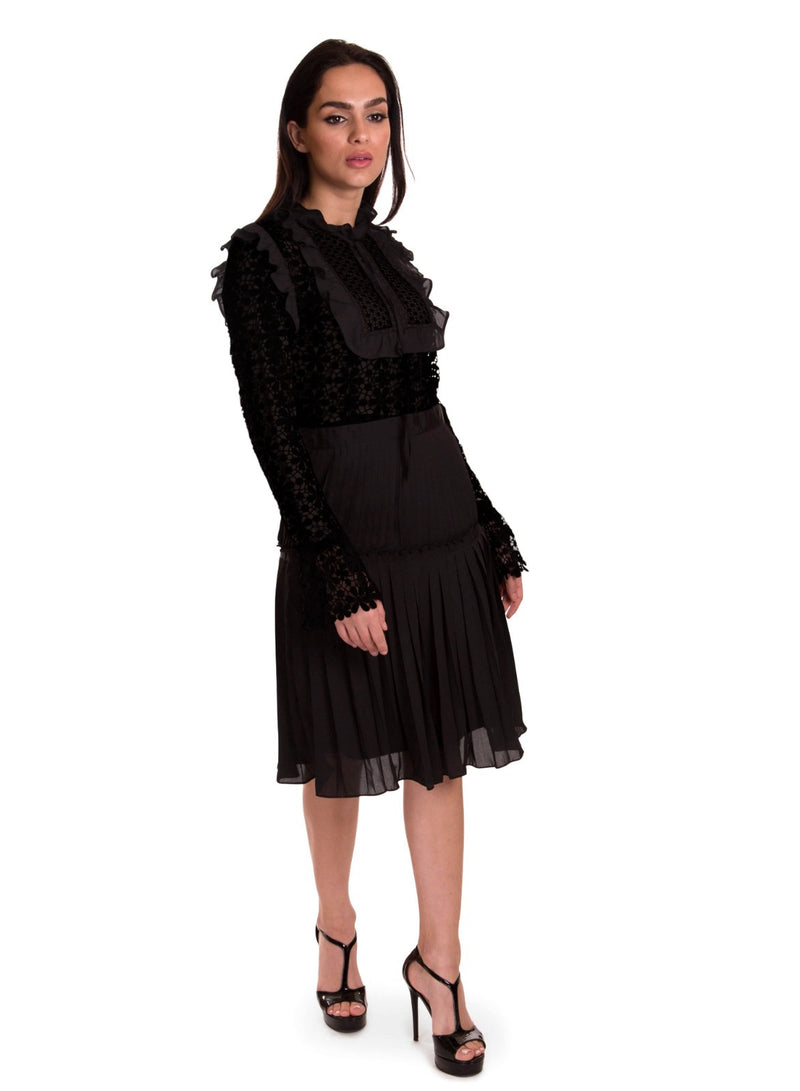 Sara Navon Lace Dress With Pleats