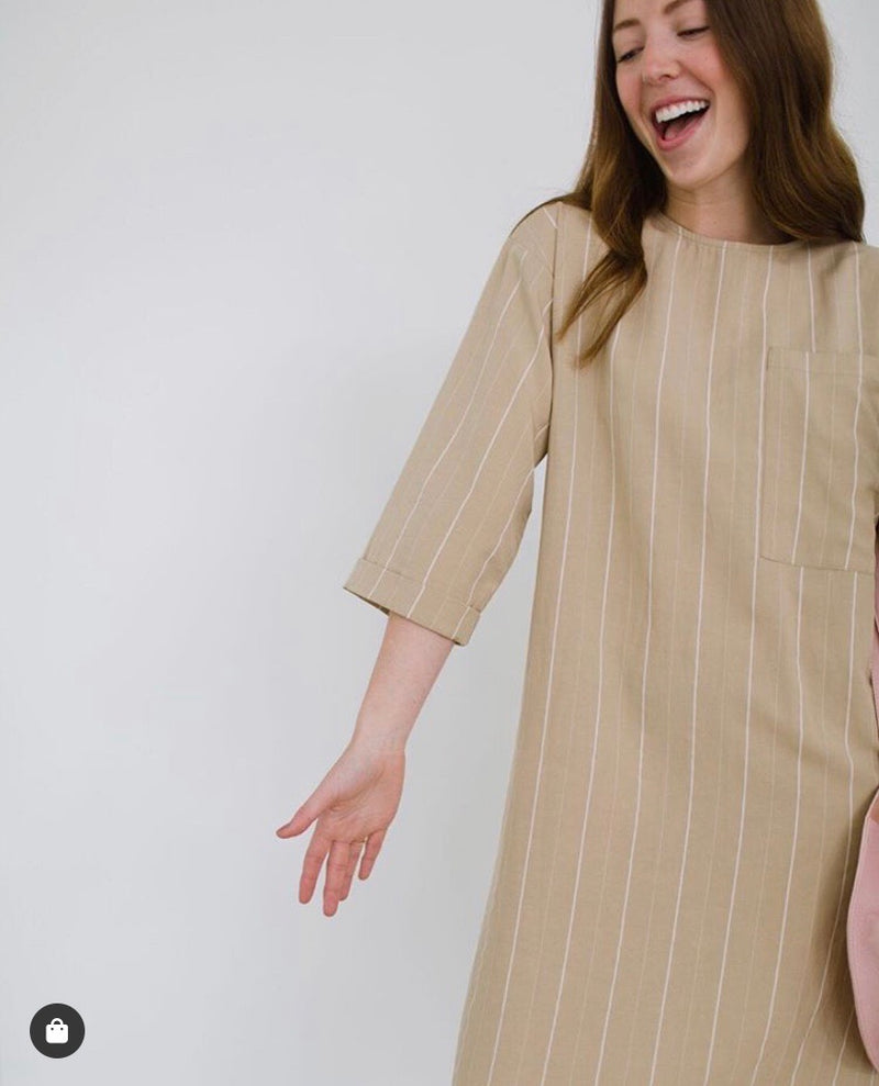 Solika Stripe Oversized Pocket  Dress