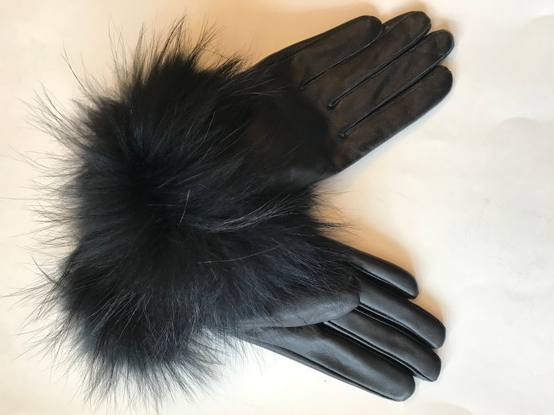 Leather Gloves With Racoon Fur