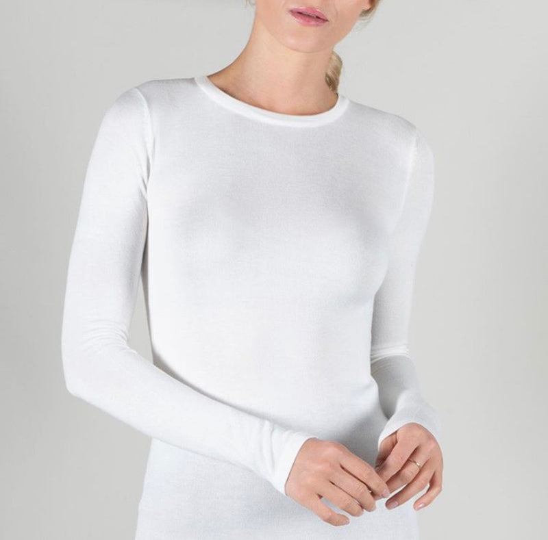 Point Flat Knit Crew Neck Long Sleeve Top
