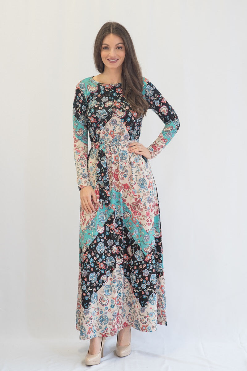 Kmw Nude Paisley Tunic Maxi Dress
