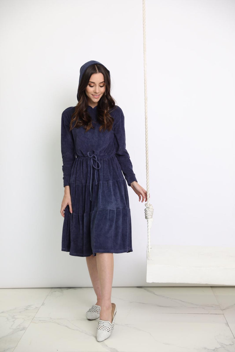 Go Couture Terry Hoodie Dress Navy