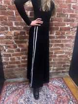 Dot Ribbed Pull on Maxi Skirt With Stripe Tape