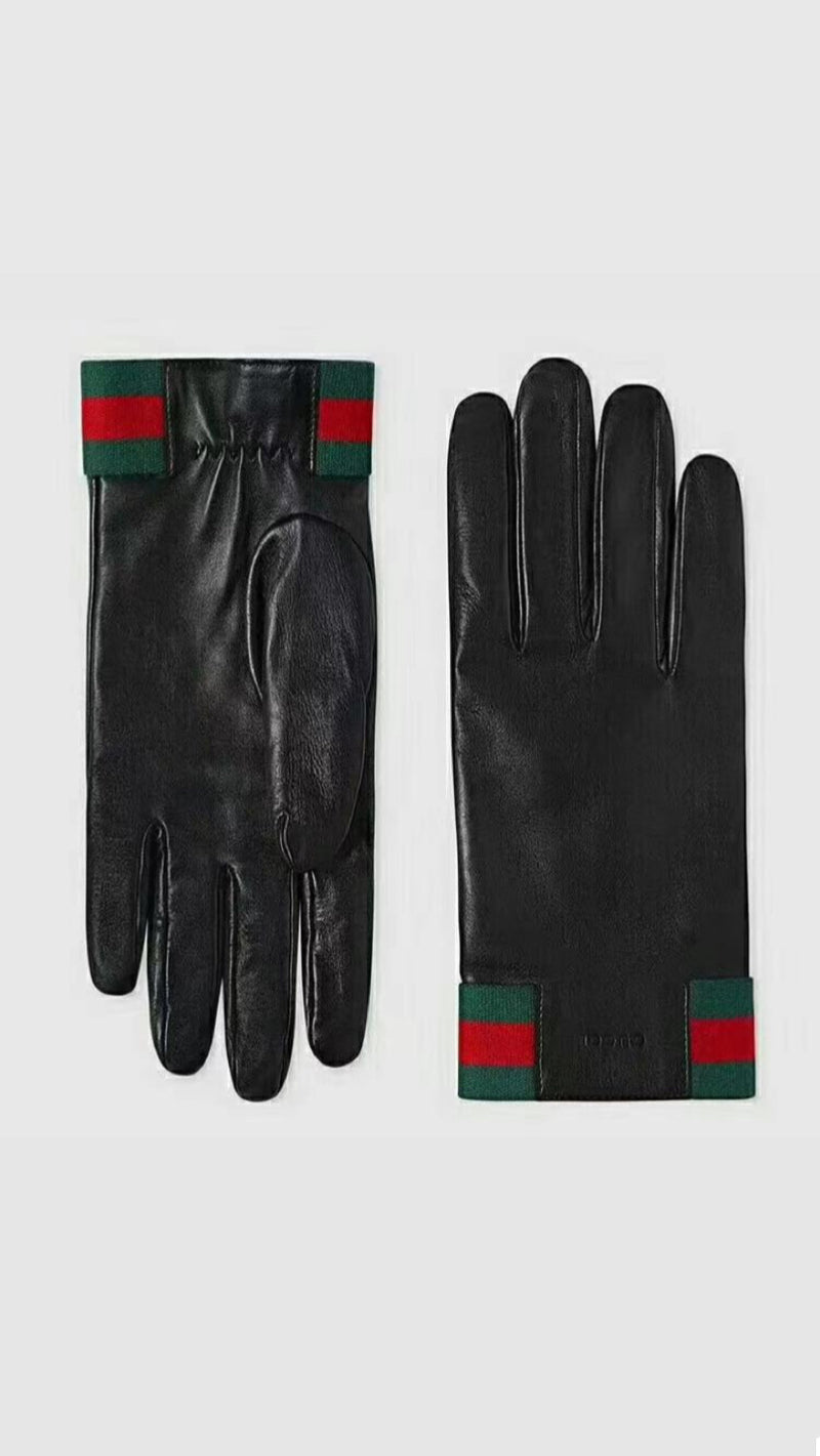 FHTH G Design Leather Gloves with Green and Red Stripe