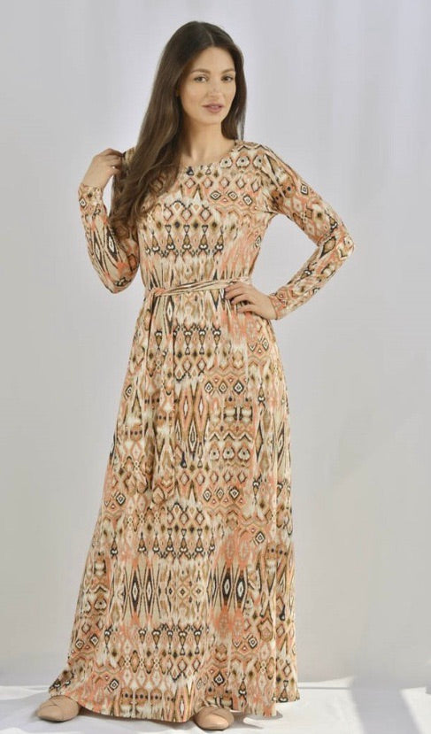 Kmw Peach Tribal Maxi Tunic Dress