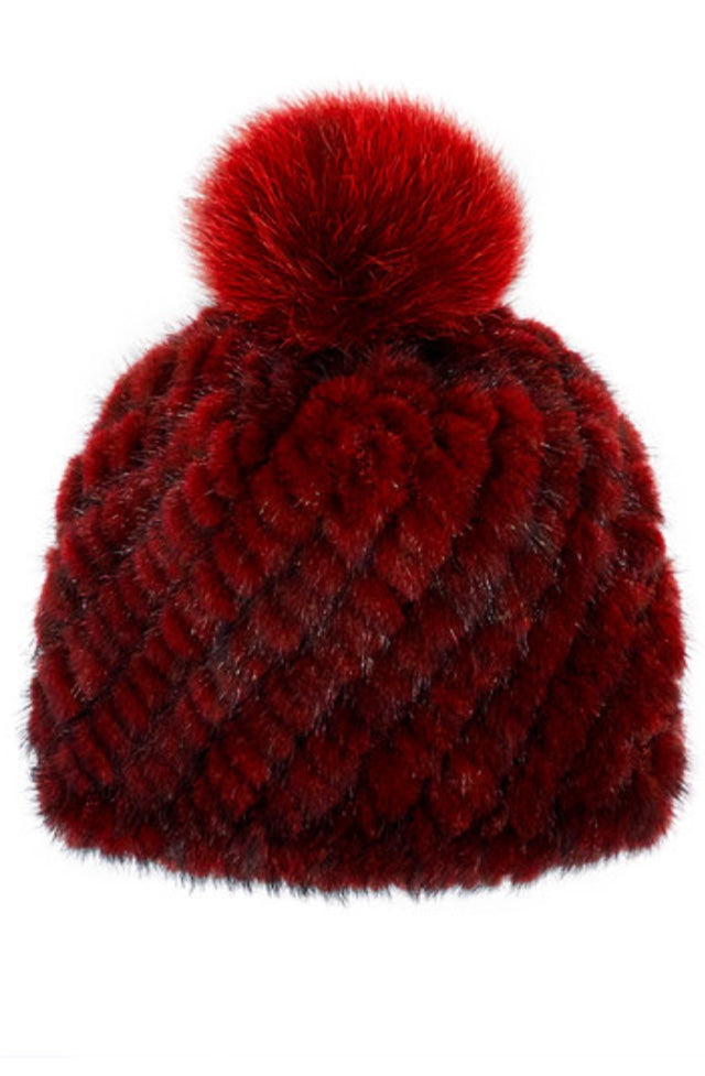 FHTH Mink Hat with Fox Pom KSH5