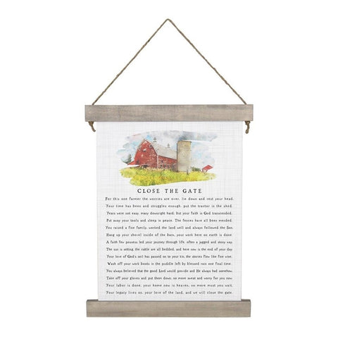 Close The Gate Hanging Canvas Sign
