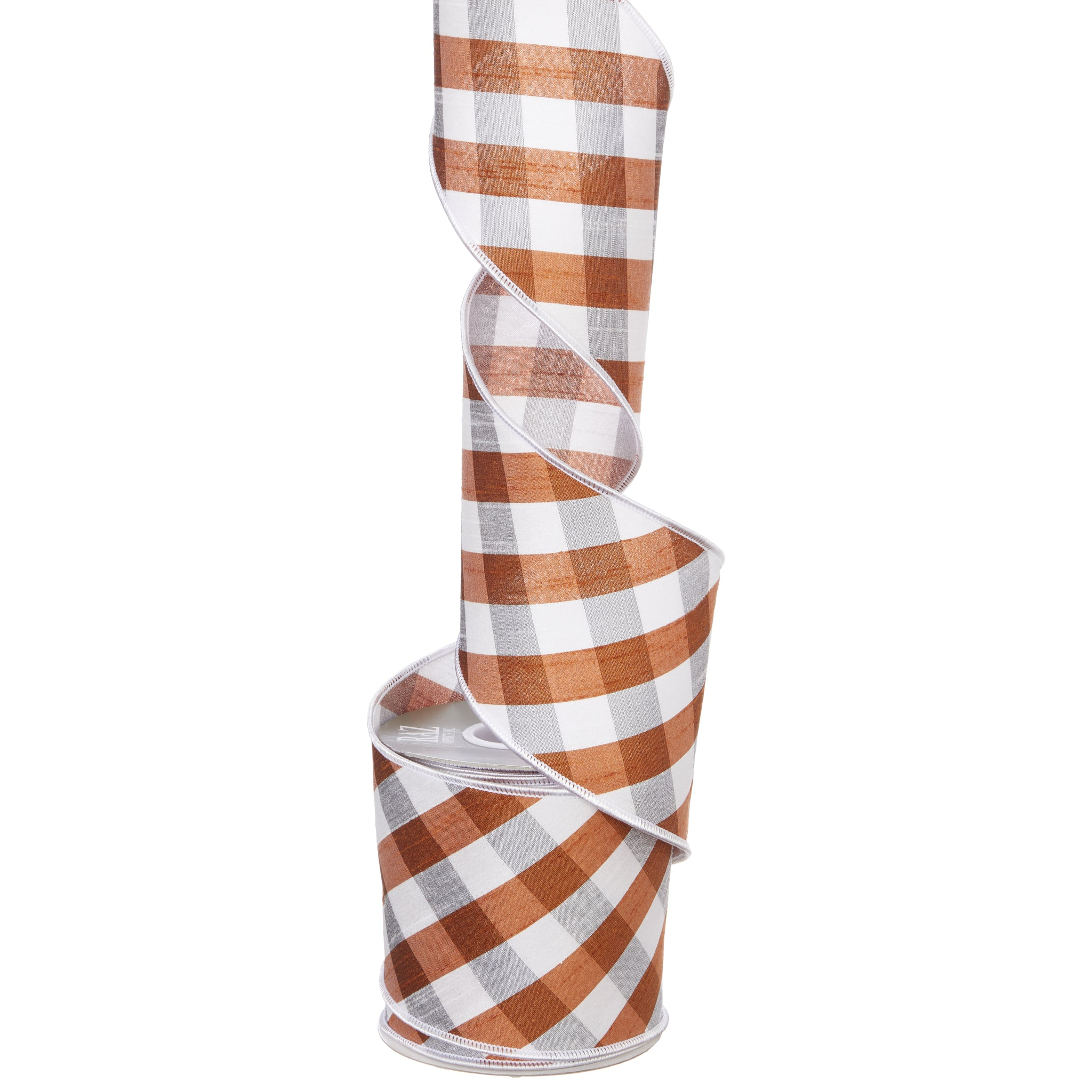 Orange, Grey & White Gingham Wired Ribbon