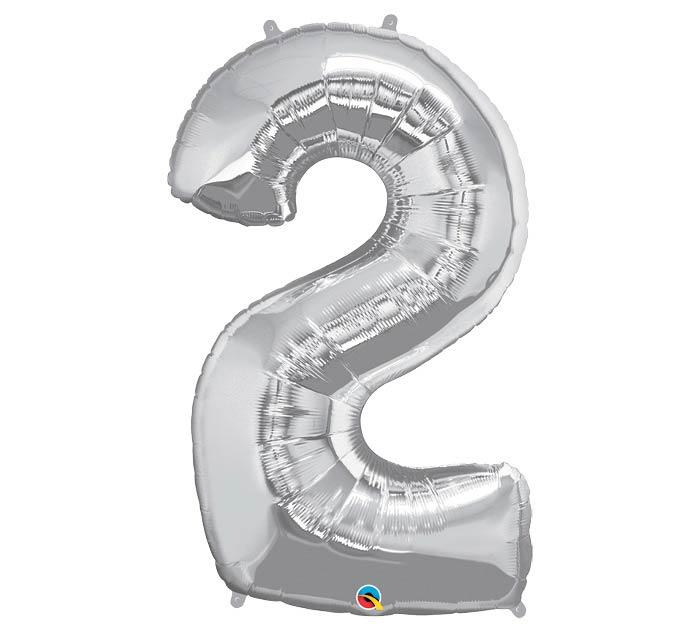 "34"" Number 2 Silver Mylar Balloon"