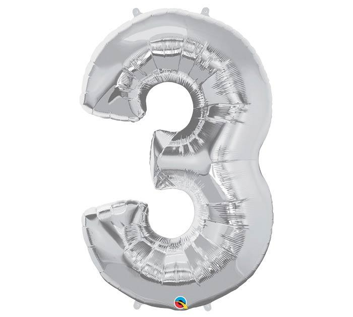 "34"" Number 3 Silver Mylar Balloon"