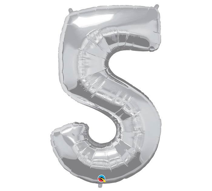 "34"" Number 5 Silver Mylar Balloon"
