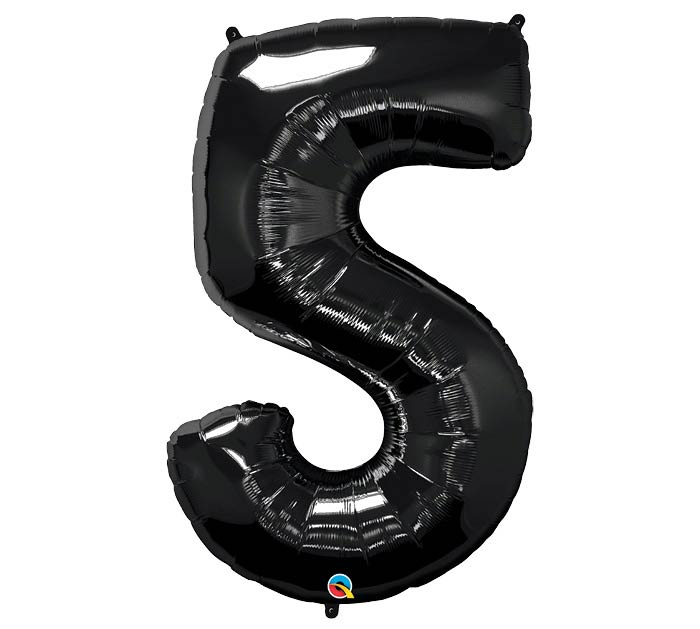"34"" Number 5 Black Onyx Mylar Balloon"