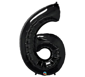 "34"" Number 6 Black Onyx Mylar Balloon"