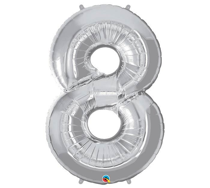 "34"" Number 8 Silver Mylar Balloon"
