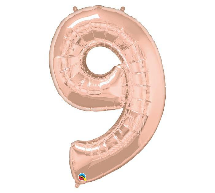"34"" Number 9 Rose Gold Mylar Balloon"