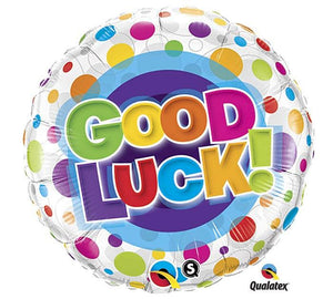 Good Luck Dotted Mylar Balloon