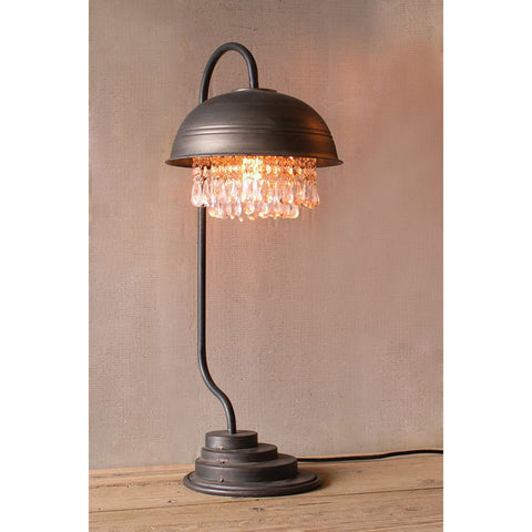 Metal Dome Lamp w/ Hanging Gems