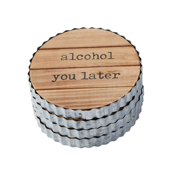 Planked Wood & Tin Alcohol Sentiment Coaster Set