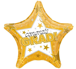 Congrats Grad Gold Star Mylar Balloon