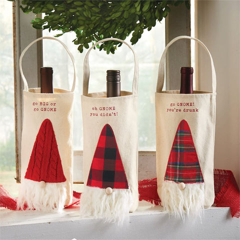 Whimsical Gnome Wine Bags