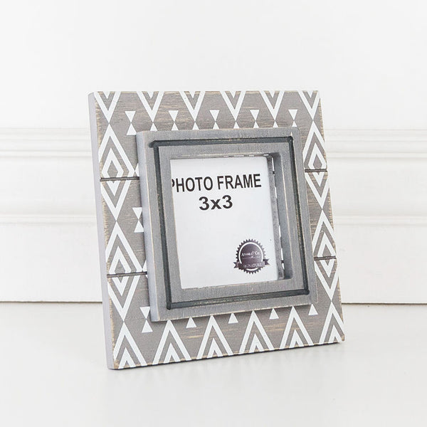 Grey & White Diamond Wood Frame