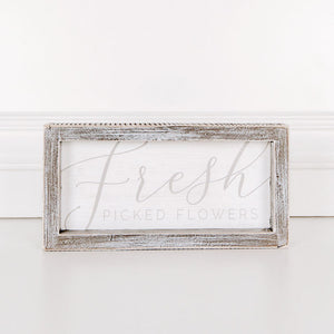 Fresh Picked Flowers Wood Framed Sign