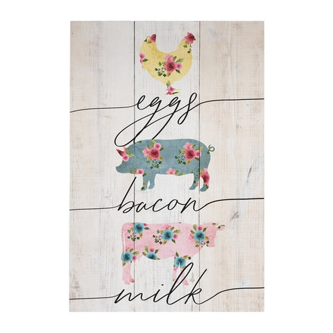 Eggs Bacon Milk Wood Sign