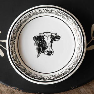 Black & White Cow Paper Plates