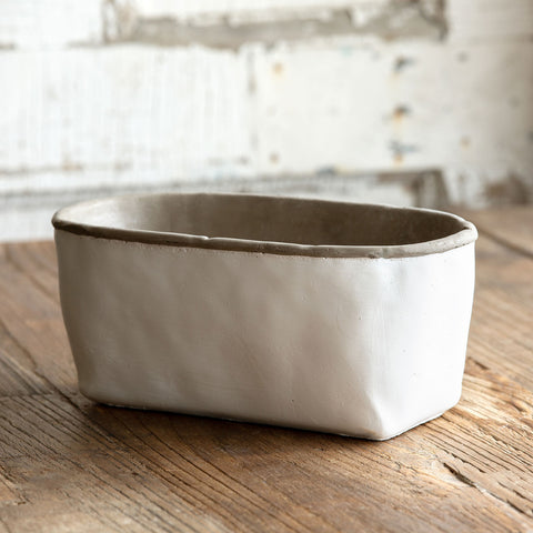 Orchard White Cement Oblong Planter