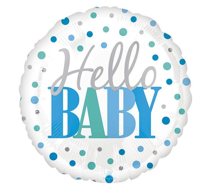 Hello Baby Blue Dots Mylar Balloon