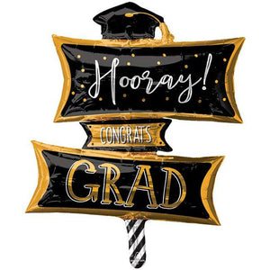 Hooray Congrats Grad Sign Oversized Mylar Balloon