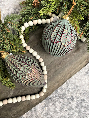 Green, Gold & Burgundy Ball & Finial Glass Ornaments