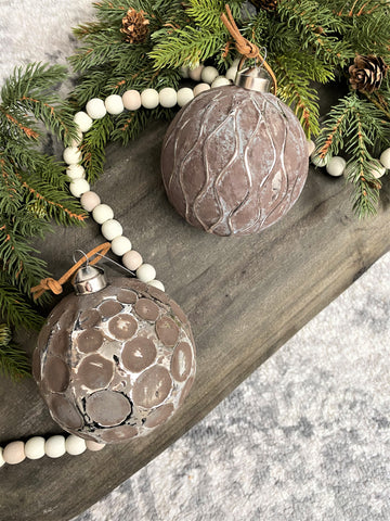 Taupe & Silver Distressed Glass Ornaments