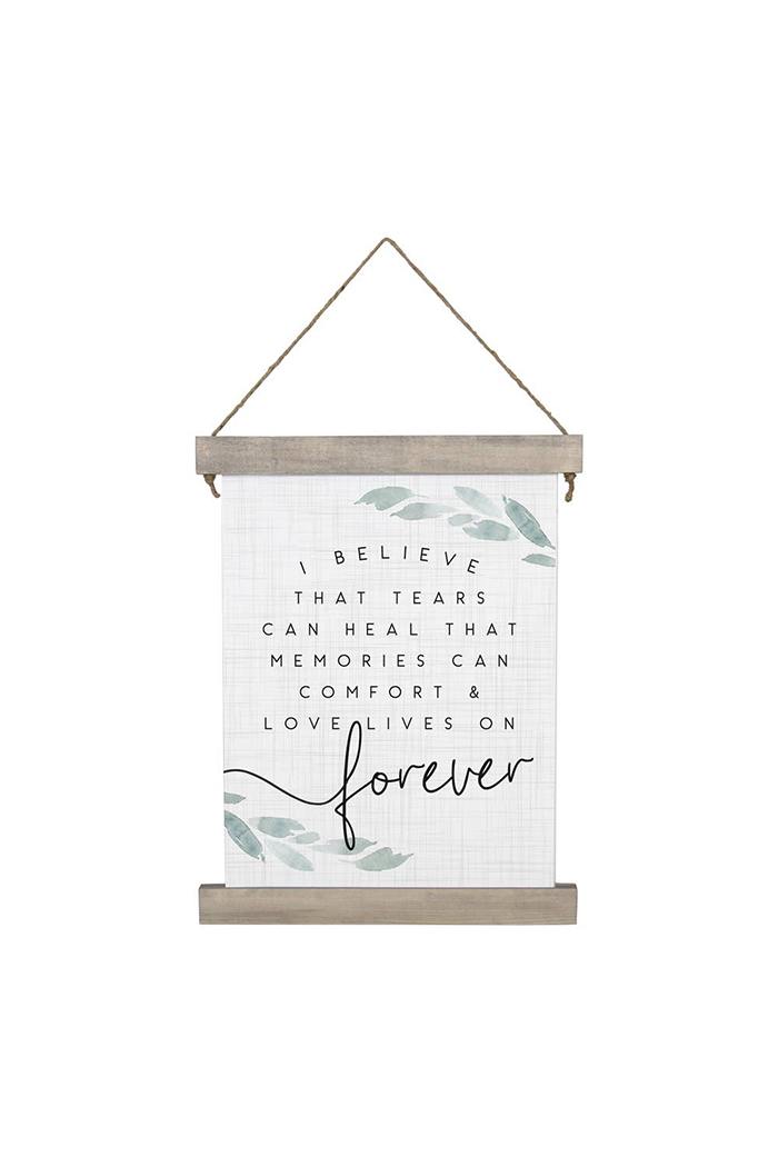 Love Lives Forever Hanging Canvas Sign