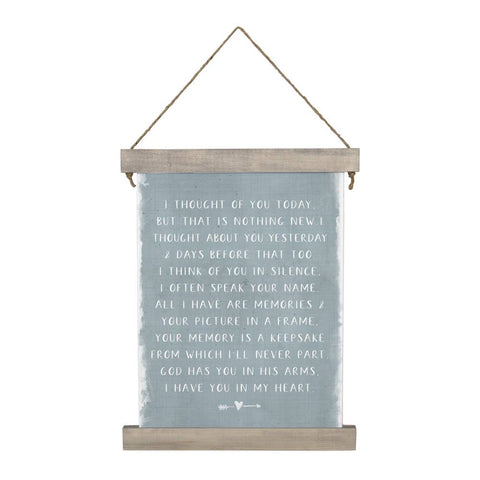 Thought Of You Today Canvas Hanging Sign