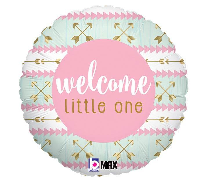 Welcome Little One Pink Mylar Balloon
