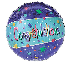 Congratulations Blue Starburst Mylar Balloon