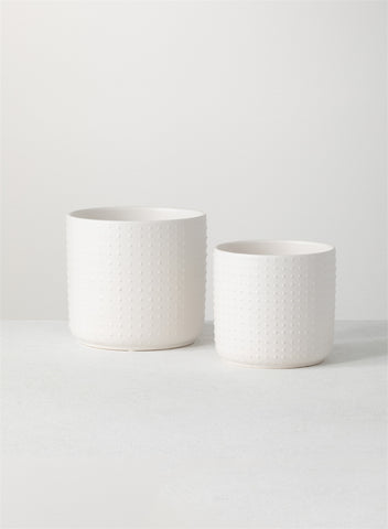 White Textured Planter