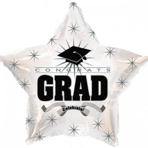 Congrats Grad Celebrate White Star Mylar Balloon