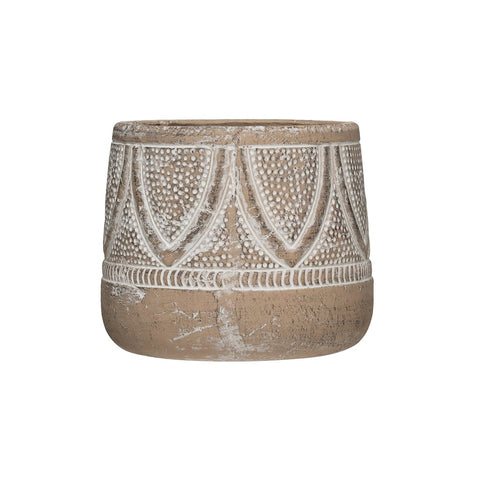 Embossed White Washed Terracotta Planter