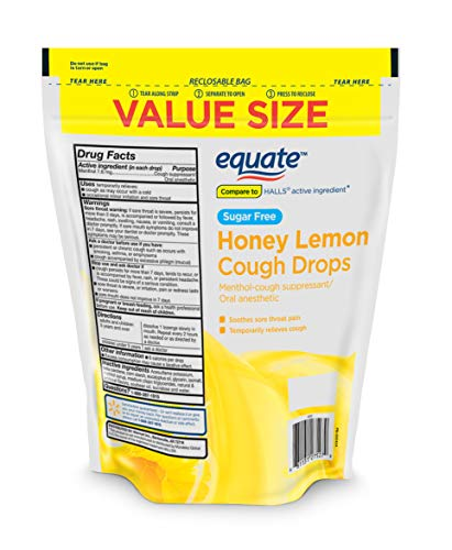 Equate Sugar Free Honey Lemon Cough Drops, 140 Drops (Pack of 2)