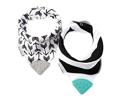 Bazzle Baby Banda Bib Soother, 2-Pack - Machine Washable & Moisture Absorbent Bandana Drool Bibs with Adjustable Snaps & Double Layer of Fabric, Available Size 0-24 Months